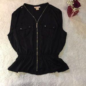 Micheal Kors plus size zip up black top